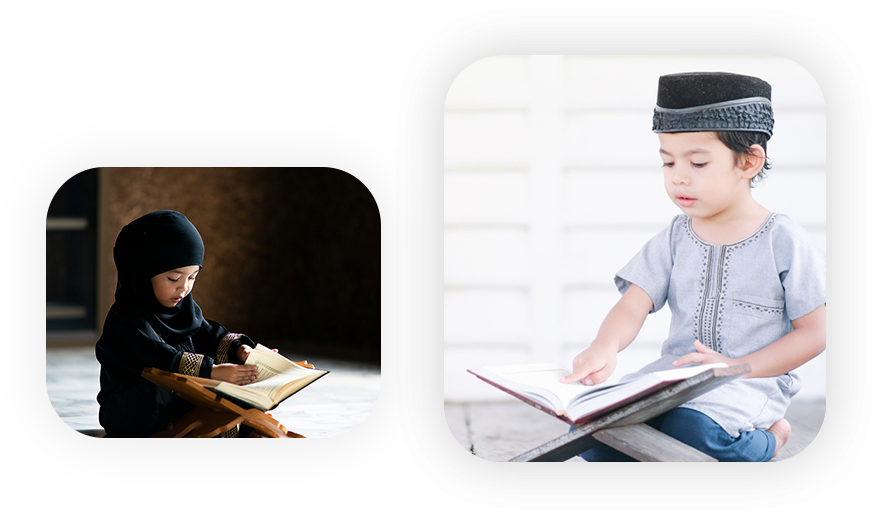 boy and girl reading quran